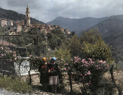 Autochrome: Hans Hildenbrand. Two women pick roses in a garden outside Vallebona. Italy.