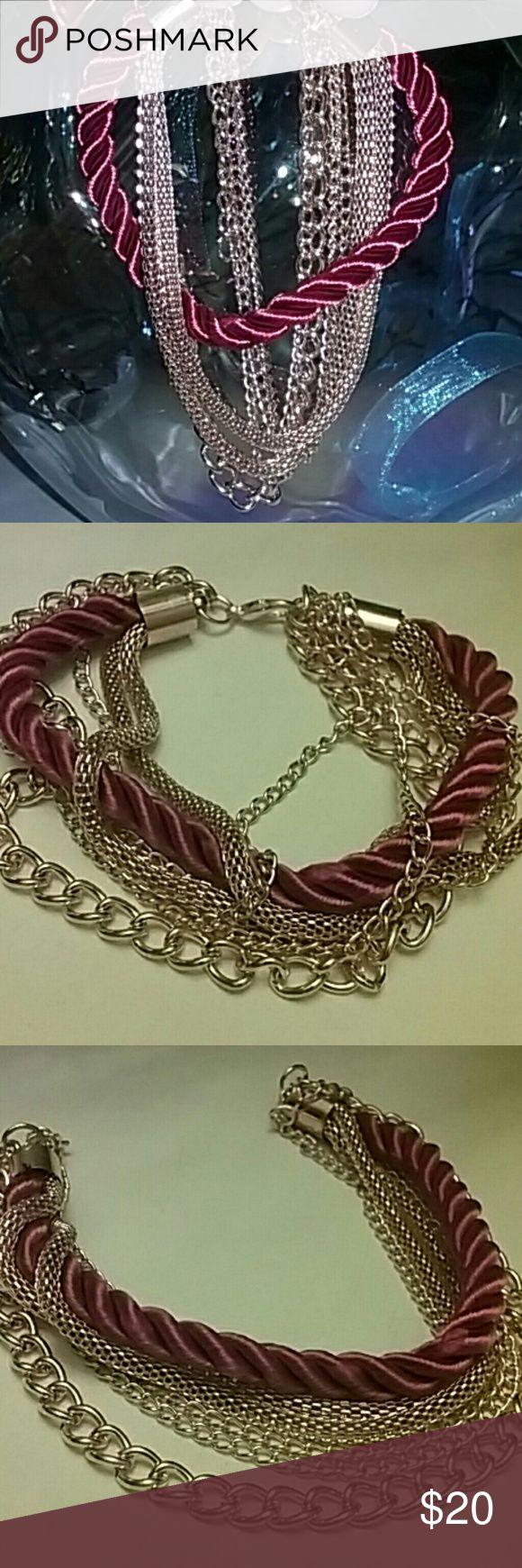 Red Velvet Rope & Gold Chain Bracelet Multiple Layered Chain Bracelet  Red & Gold Jewelry Bracelets