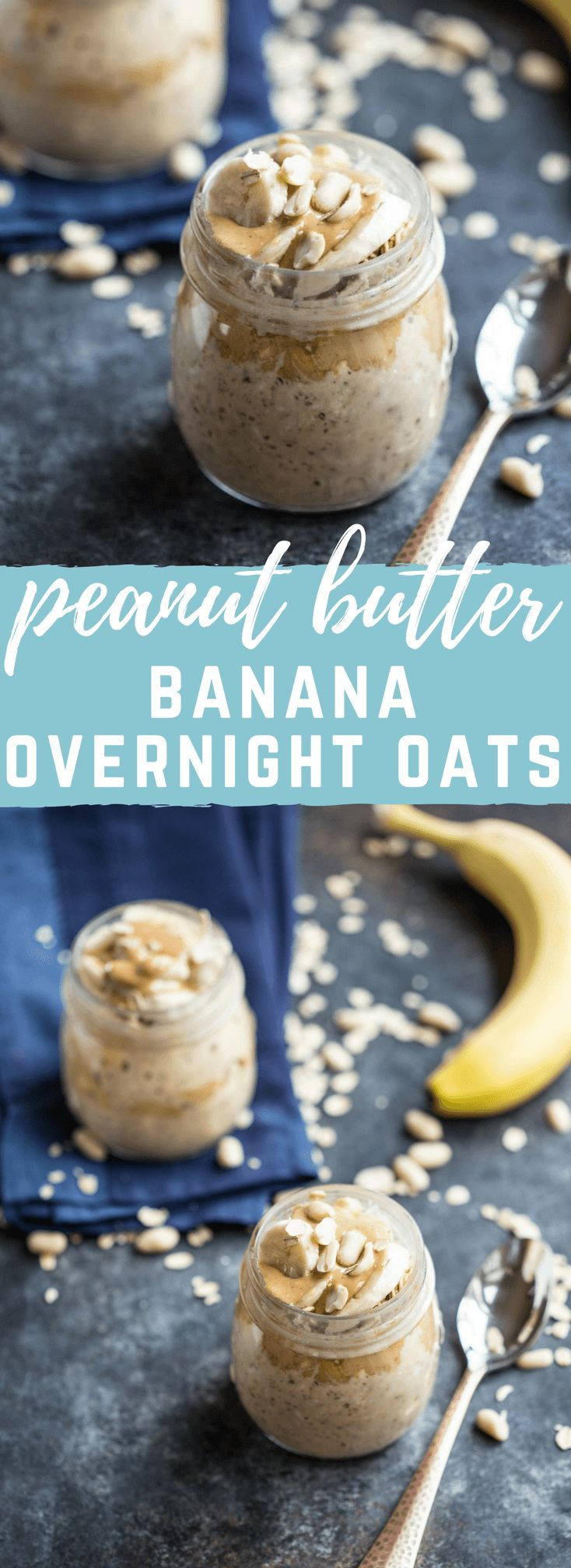 Peanut Butter Banana Overnight Oats.... this no sugar added and dairy free meal prep makes a tasty and satisfying and peanut buttery breakfast!!