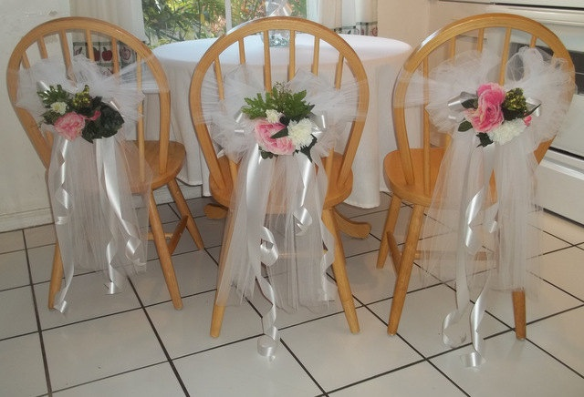 Decorative bows any occasion pink white wedding sweet sixteen 15 anniversary chairs pews 10 pcs. $219.90, via Etsy.