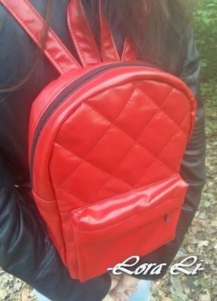 Стильный женский рюкзак, красный, эко-кожа.+ за+350+грн.