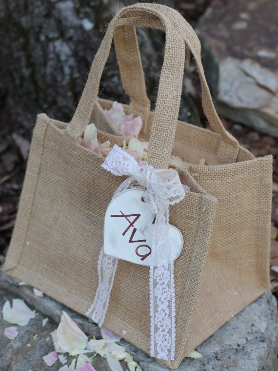 Burlap Flower Girl Basket Personalized Heart Custom Color Ribbon, Rustic Wedding, Shabby Chic Wedding on Etsy, $19.99