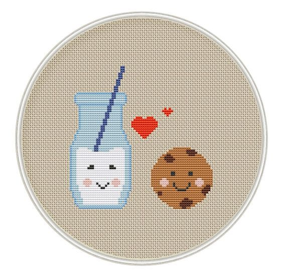 Milk and Cookie Cross Stitch Pattern Kawaii by MagicCrossStitch
