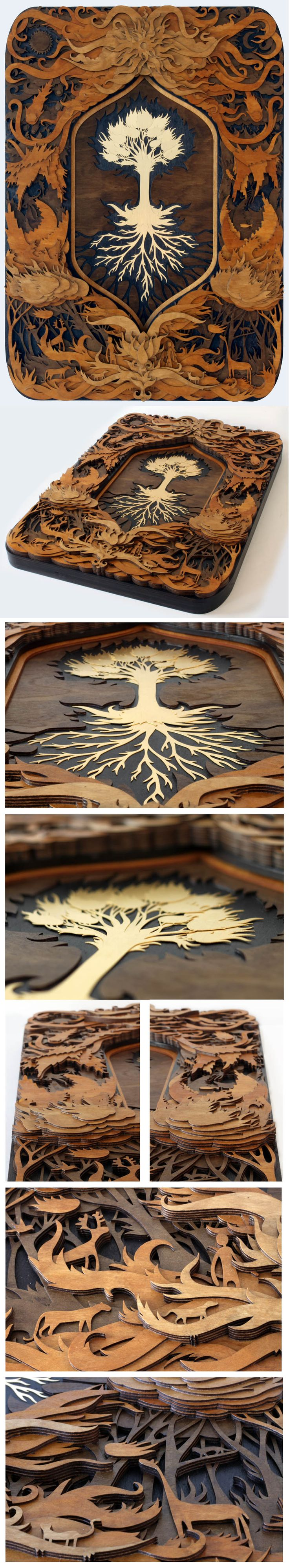 Laser works by Martin Tomsky .... this might work as a carving/pyro project ... burn on the frame and carve a tree relief ....