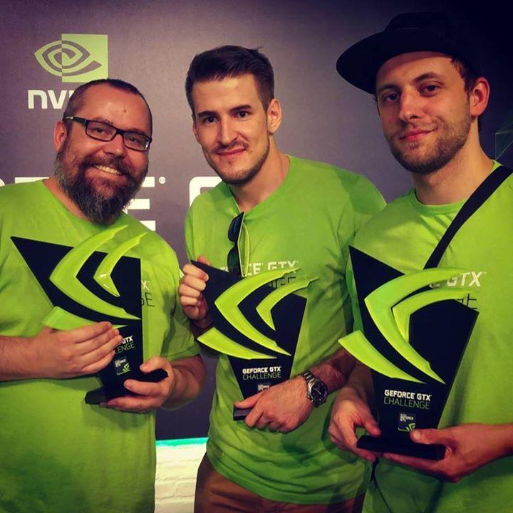 Rock, Izak i Kubson po otrzymaniu nagród za Nvidia GTX Challenge