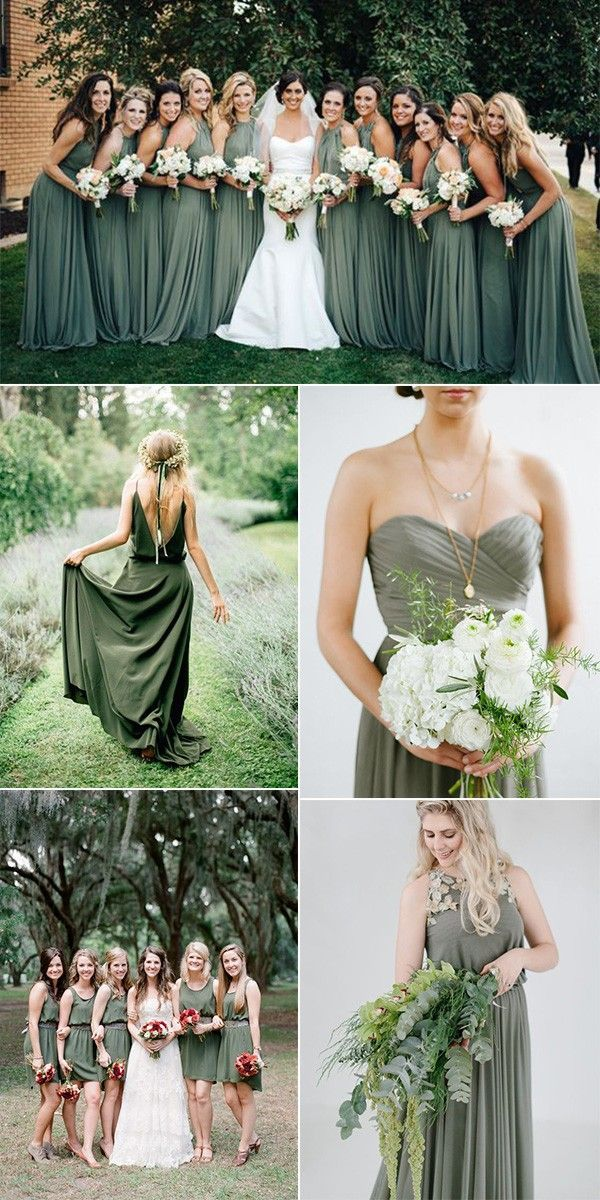 Trend olivgrüne Brautjungfernkleider – Trauzeug…