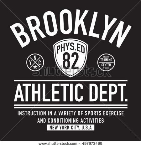 Athletic sport Brooklyn typography; t-shirt graphics, vectors