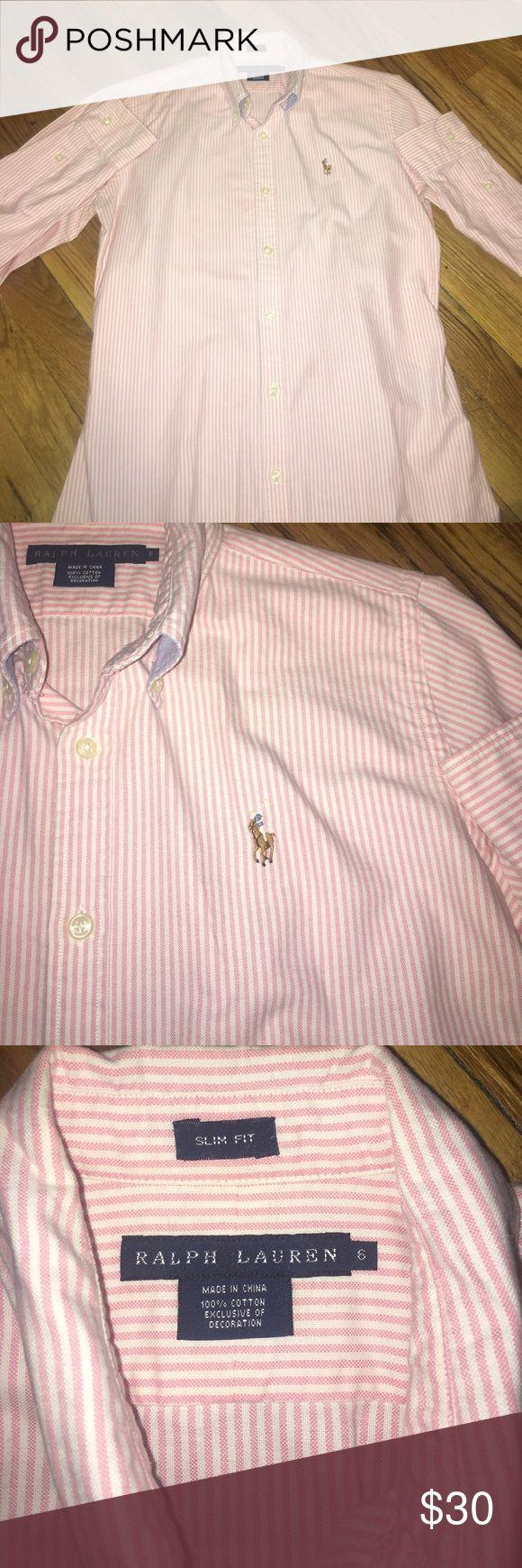 Ralph Lauren Slim Fit Oxford Ralph Lauren Women's Pink Striped Button Down Slim Oxford in size 6 Ralph Lauren Tops Button Down Shirts