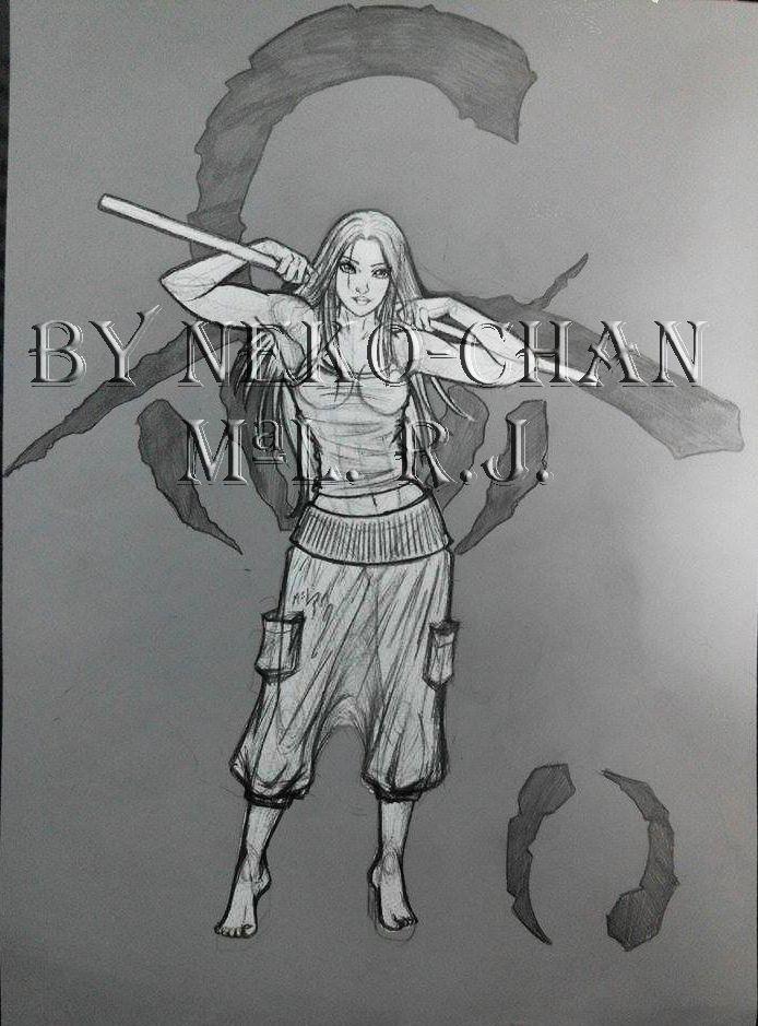 Hana. Hijo de gaia. Ragabash. Werewolf. Children of Gaia. Garou. Black / White