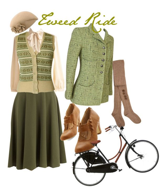 """""""tweed ride inspiration"""" by onceuponanovel ❤ liked on Polyvore featuring Chanel, Hansel from Basel and Hermès"""
