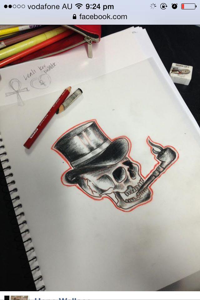 Skull traditional tattoo drawing