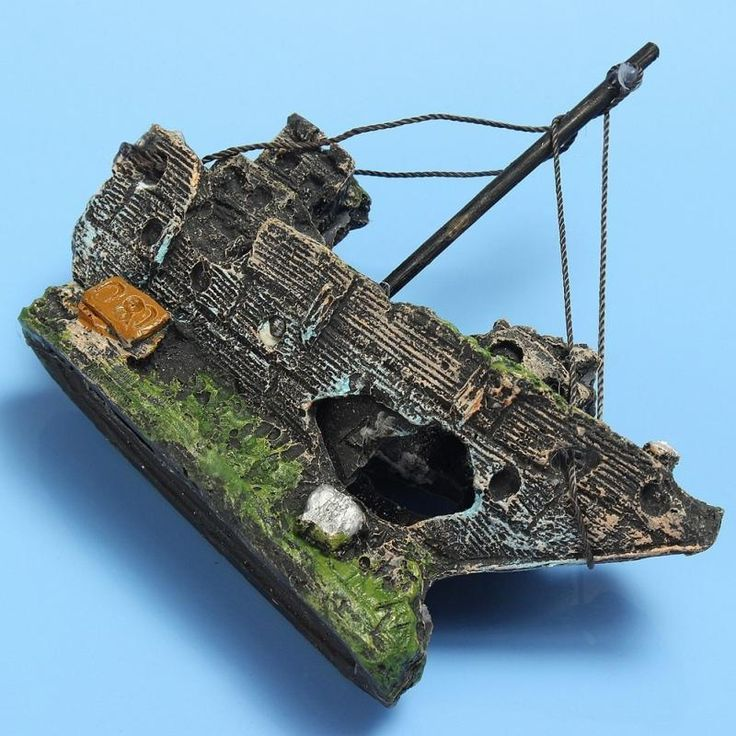 Aquarium Ornament Sunken Ship Wreck Boat Cave Sailing Destroyer Fish Decoration  #AquariumOrnament