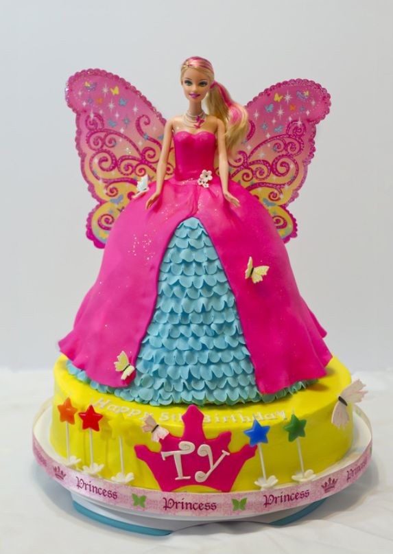A cute variation to normal barbie cakes....shhhh don't let nina see.