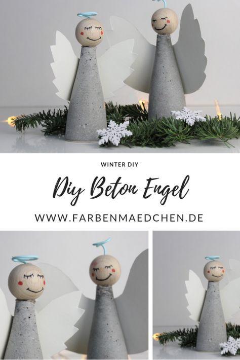 Winterlicher DIY Beton Engel zum Selbermachen
