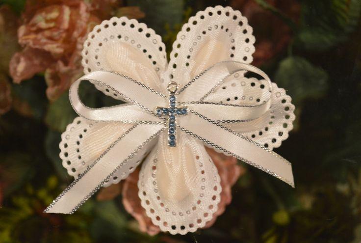 LOT OF 10 Confetti Flower with blue rhinestone cross, Almond Favors, Bomboniere, Italian favors, Jordan almonds flowers, Koufeta, Favours by ConfettiFlowerFavors on Etsy