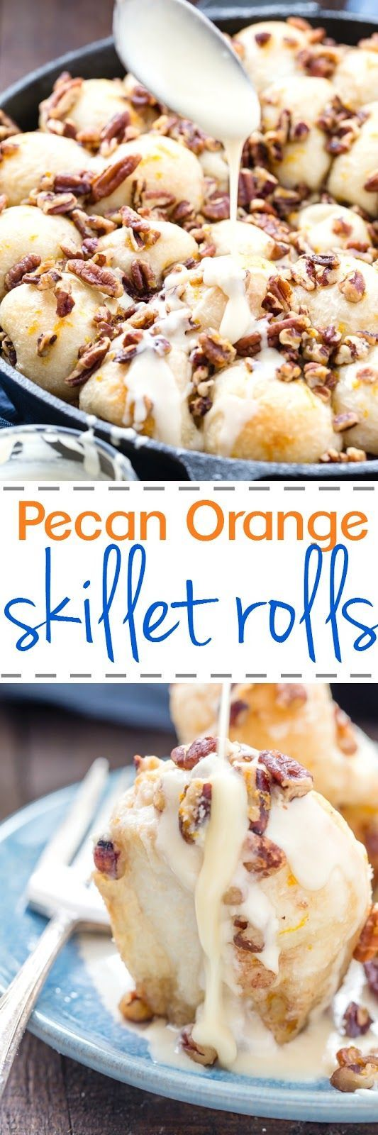 These Orange Pecan Pull Apart rolls made in one skillet and will become your favorite breakfast treat with creamy orange glaze and crunchy pecans.  Perfect for any day and special holidays like Easter and Mother's Day