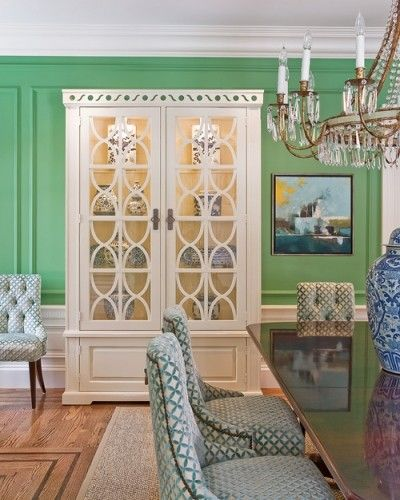 Love the hutch!Dining Rooms, Wall Colors, Katy Rosenfeld, China Cabinets, Chairs Fabrics, Green Wall, Diningroom, White Cabinets, Dining Room Chairs