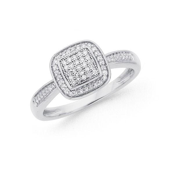 9ct White Gold Diamond Cushion Frame Ring