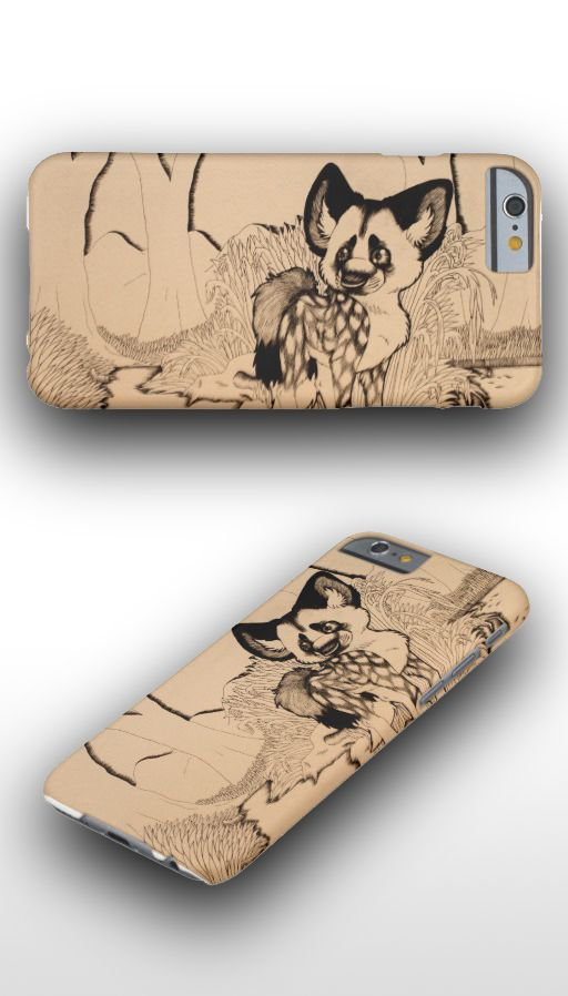 """Wasteland"" Black and white illustrated cute African wild dog iPhone 6 Case"