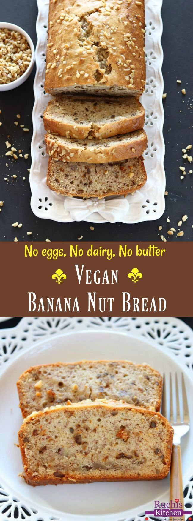 Loaded with chopped walnut and bananas, this Vegan Banana Nut Bread is perfect for breakfast, dessert or as an afternoon snack! #vegan #walnutbananabread #holidaybaking #veganbaking #veganbreads