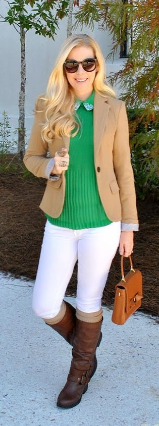 Fall/ winter outfit. Emerald green top. White jeans. Tall brown boots. Camel blazer. Spread The Ted by Fash Boulevard