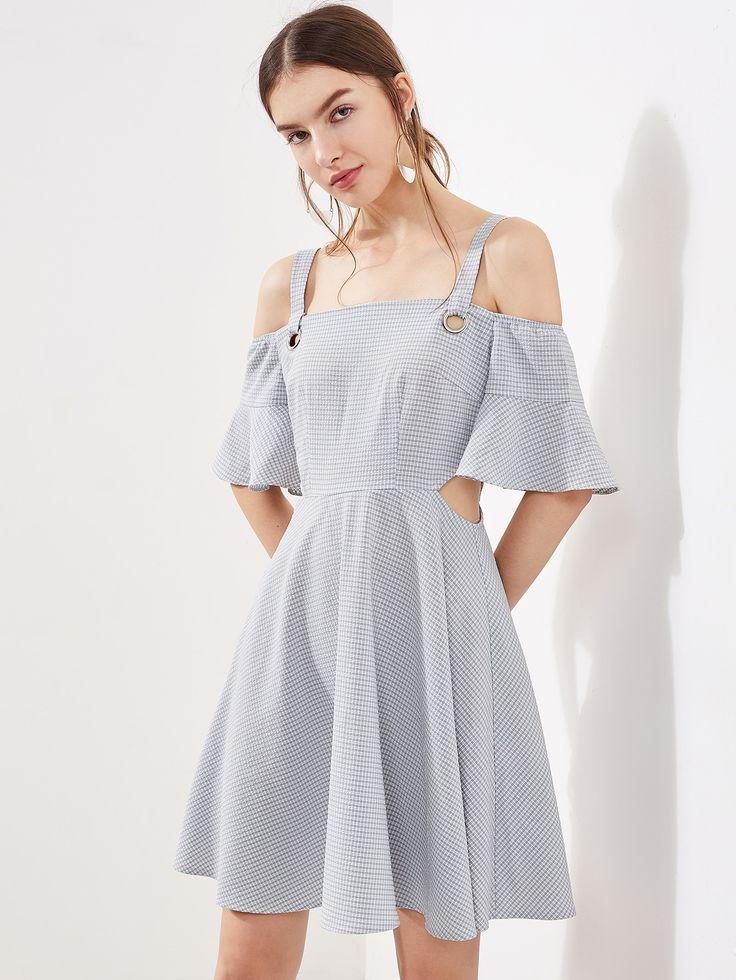 O-Ring Detail Trumpet Sleeve Cutout Side Checkered Dress | MakeMeChic.COM.  Cold Shoulder DressFast FashionWomen's ...
