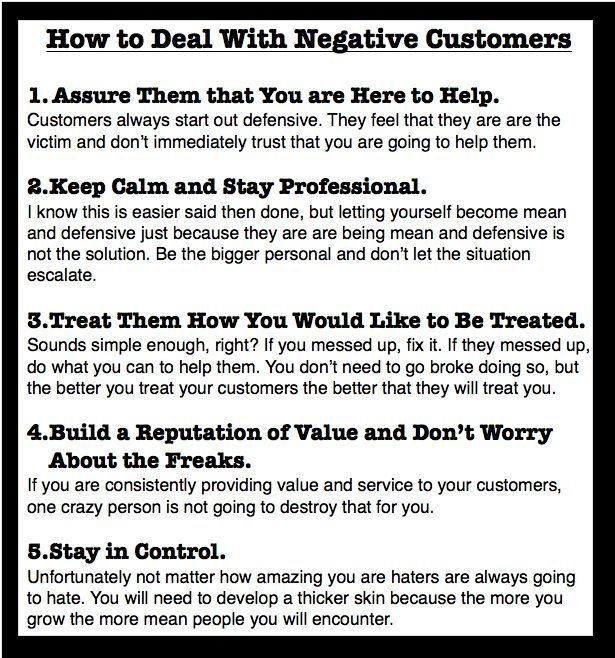 Great Blog post on How to Deal with Negative Customers