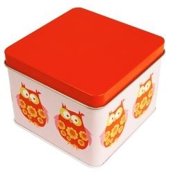 Plåtbox liten UGGLA, röd - Blafre