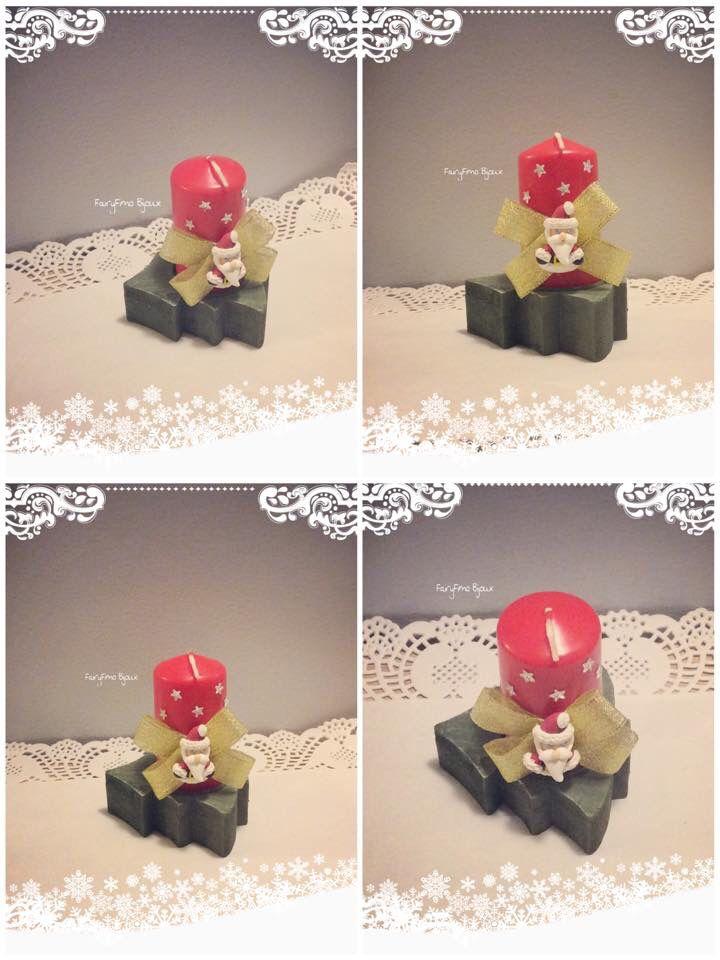 Candela rossa con Babbo Natale ⭐️ realizzata interamente a mano con decorazione in fimo !!!