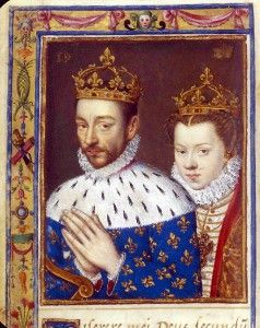 1570 - Elisabeth of Austria & King Charles IX of France (image source: Bibliotheque Nationale de France) Charles IX of France, curious about his future wife, dressed himself as a soldier and went to Sedan to observe her incognito while she was walking in the palace of Sedan's garden with Henry: he was reportedly happy about what he saw.