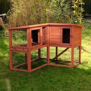 Corner rabbit cage.