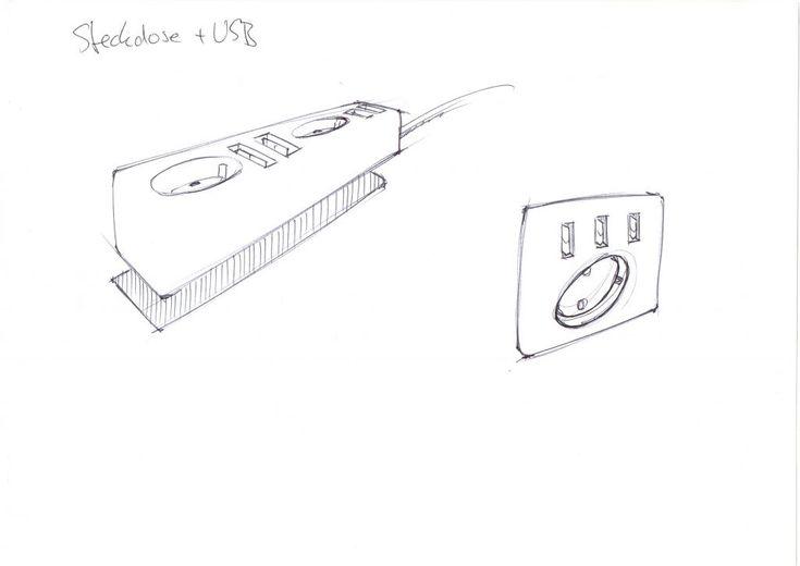 Steckdose + USB Eine Steckdose mit direktem USB-Anschluss.