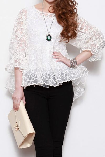 Organza Lace Floral Embroidery Ruffle Blouse : The Art of Vintage-inspired & Cute Women's Clothing   Larmoni