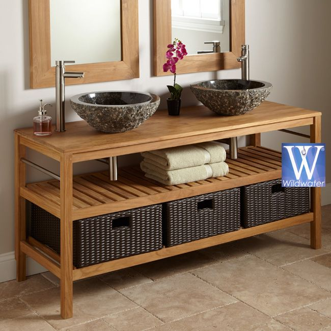 Teak Bathroom Vanity Junior. Like Teak. Different Sink Shown Below. Pipes  Hidden As