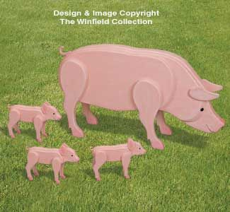 3D Life-Size Pig Family Wood Pattern