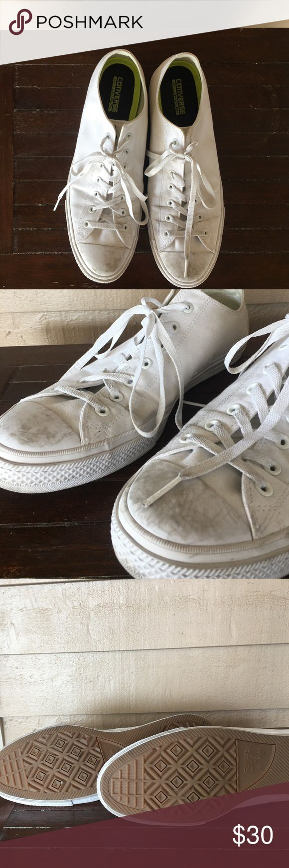 Men's White Low Top White Chuck Taylors Worn & have a decent amount of scuffing/dirt on them. The soles are in excellent shape though! They have a ton of life left in them. Always willing to accept reasonable offers! Please ask questions if you have any! Converse Shoes Sneakers