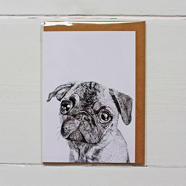 Beautifully designed greetings card by Ros Shiers, featuring Albert The Pug.