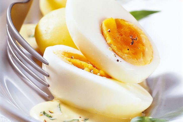 Das Rezept für Eier in Estragon-Senf-Sauce mit allen nötigen Zutaten und der einfachsten Zubereitung - gesund kochen mit FIT FOR FUN