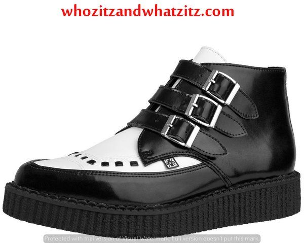 TUK Shoes Black & White 3 Buckle Point Creeper Boot Size Mens 13
