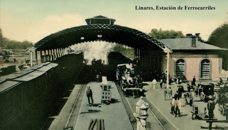 Antigua imagen de la estación Linares. Nótese que tenía un techo que hoy no tiene.