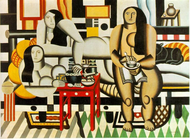 Fernand Leger    Three Women 1921        Three Women is an example of Leger's smooth forms, created with machine-like solidity and a precision reminiscent of technology. In the tradition of classical images of female nudes, the three women recline in a chic apartment, sipping their drinks.