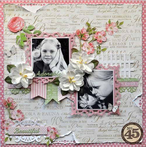 A stunning Botanical Tea layout from Karen Shady. This is so beautiful and those photos are breathtaking #graphic45 #layouts