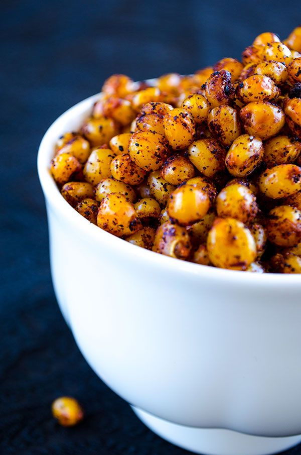 Spicy and crunchy roasted corns. These are guilt-free, gluten-free and tasty savory snacks you will fall in love with at first bite!   giverecipe.com   #corn #snack #spicy