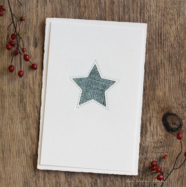 der kleine klecks: Dreierlei vom Stern an Hagebutte. Sternkarte in 3 Variationen. Material: genähte Sterne - Charlie und Paulchen, Sisalpapier braun,  Fedrigoni Cardstock naturweiß