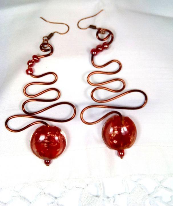 Cercei Red Glass- margele/ sarma de cupru/ abstract/urban