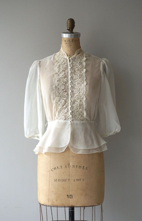Vintage 1970s sheer cream chiffon blouse with cream lace applique lace, collarless neckline, 3/4 sleeves, loop buttons and peplum waist. --- M E A S U
