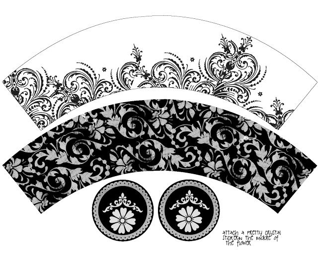 Provenzal en Blanco y Negro: Wrappers para Cupcakes para Imprimir Gratis.