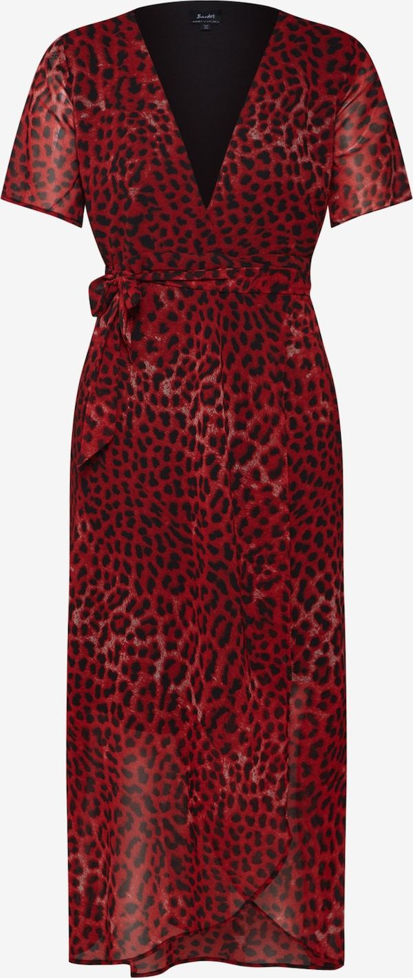 bardot kleider 'leopard wrap dress' in rot | about you