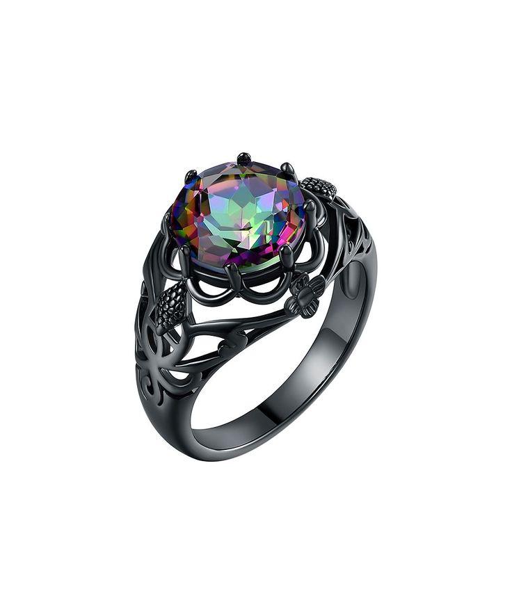 Rainbow Topaz & Black Floral Ring