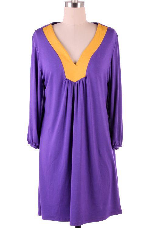 brook purple gold game day dress super soft slinky material 40. Black Bedroom Furniture Sets. Home Design Ideas